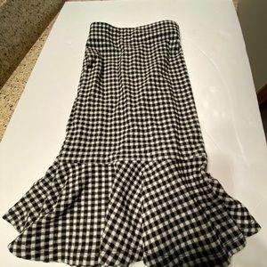 Loft black check skirt with flounce